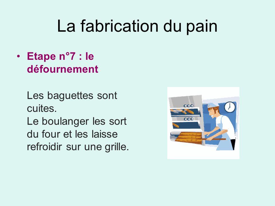 La fabrication du pain Etape n°7 : le défournement Les baguettes sont cuites. Le boulanger les sort du four et les laisse refroidir sur une grille.
