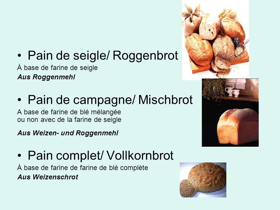 Pain de seigle/ Roggenbrot À base de farine de seigle Aus Roggenmehl Pain de campagne/ Mischbrot A base de farine de blé mélangée ou non avec de la fa