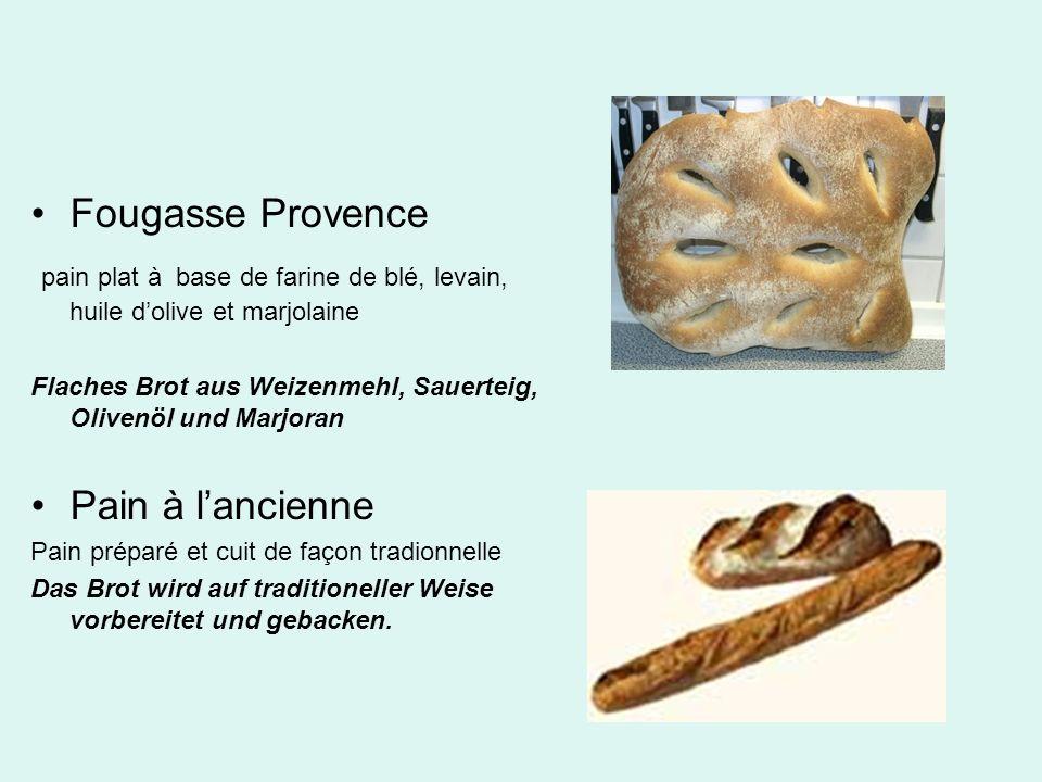 Fougasse Provence pain plat à base de farine de blé, levain, huile dolive et marjolaine Flaches Brot aus Weizenmehl, Sauerteig, Olivenöl und Marjoran