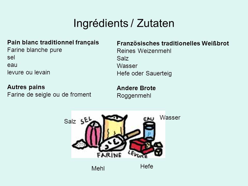 Ingrédients / Zutaten Pain blanc traditionnel français Farine blanche pure sel eau levure ou levain Autres pains Farine de seigle ou de froment Franzö
