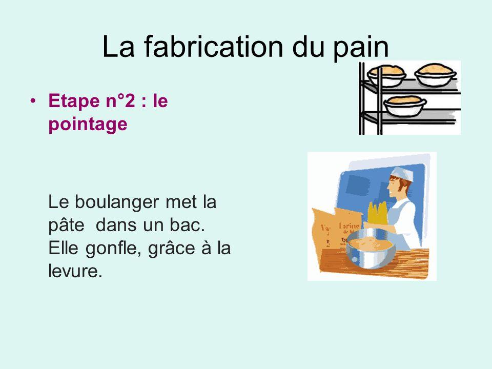 La fabrication du pain Etape n°2 : le pointage Le boulanger met la pâte dans un bac. Elle gonfle, grâce à la levure.