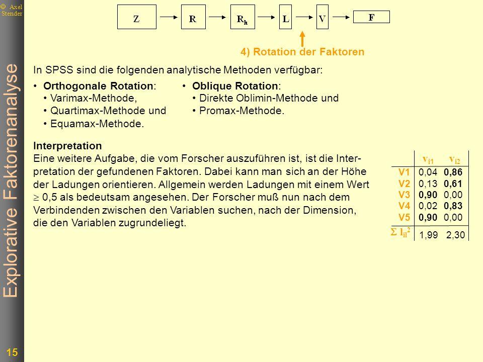 Explorative Faktorenanalyse 15 Axel Stender In SPSS sind die folgenden analytische Methoden verfügbar: Orthogonale Rotation: Varimax-Methode, Quartima