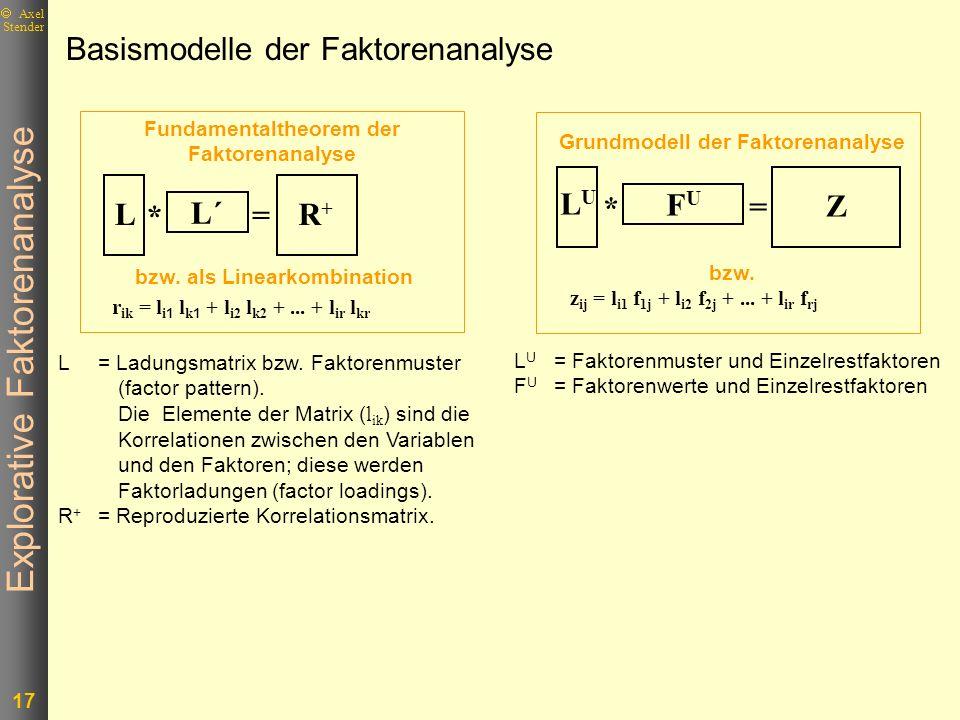 Explorative Faktorenanalyse 17 Axel Stender Basismodelle der Faktorenanalyse bzw. als Linearkombination r ik = l i 1 l k 1 + l i2 l k2 +... + l ir l k
