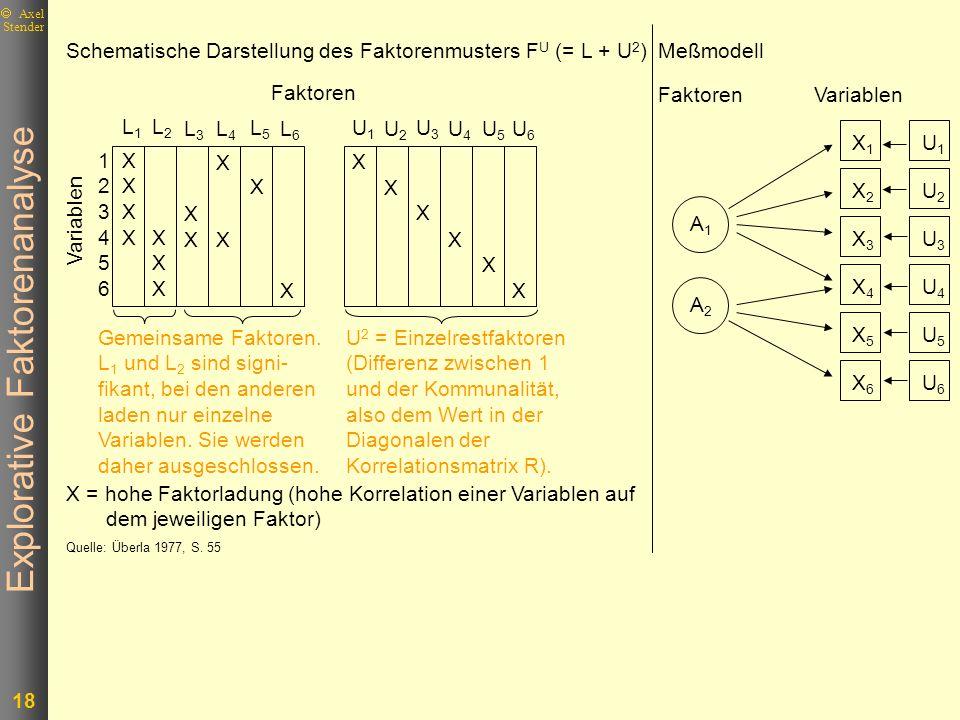 Explorative Faktorenanalyse 18 Axel Stender Schematische Darstellung des Faktorenmusters F U (= L + U 2 ) L1XXXXL1XXXX L2XXXL2XXX 123456123456 Variabl