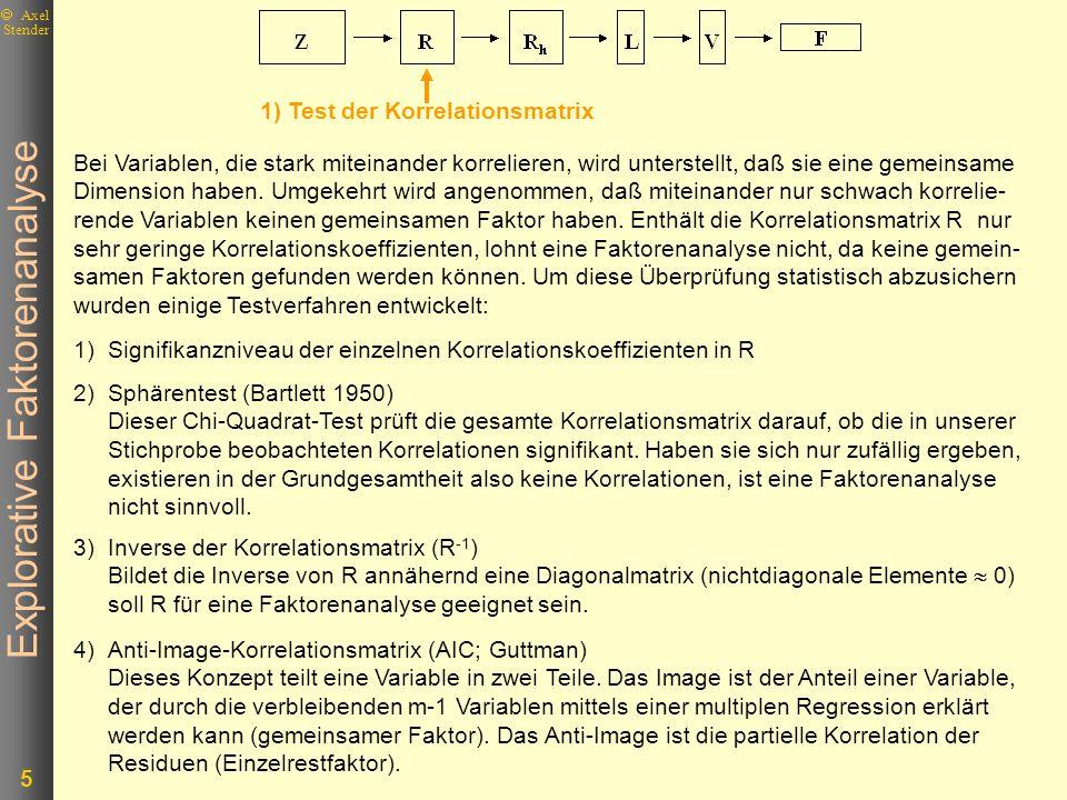 Explorative Faktorenanalyse 6 Axel Stender 5)MSA und KMO Beide Maße geben an, in welchem Umfang die einzelnen Ausgangsvariablen zusam- mengehören.