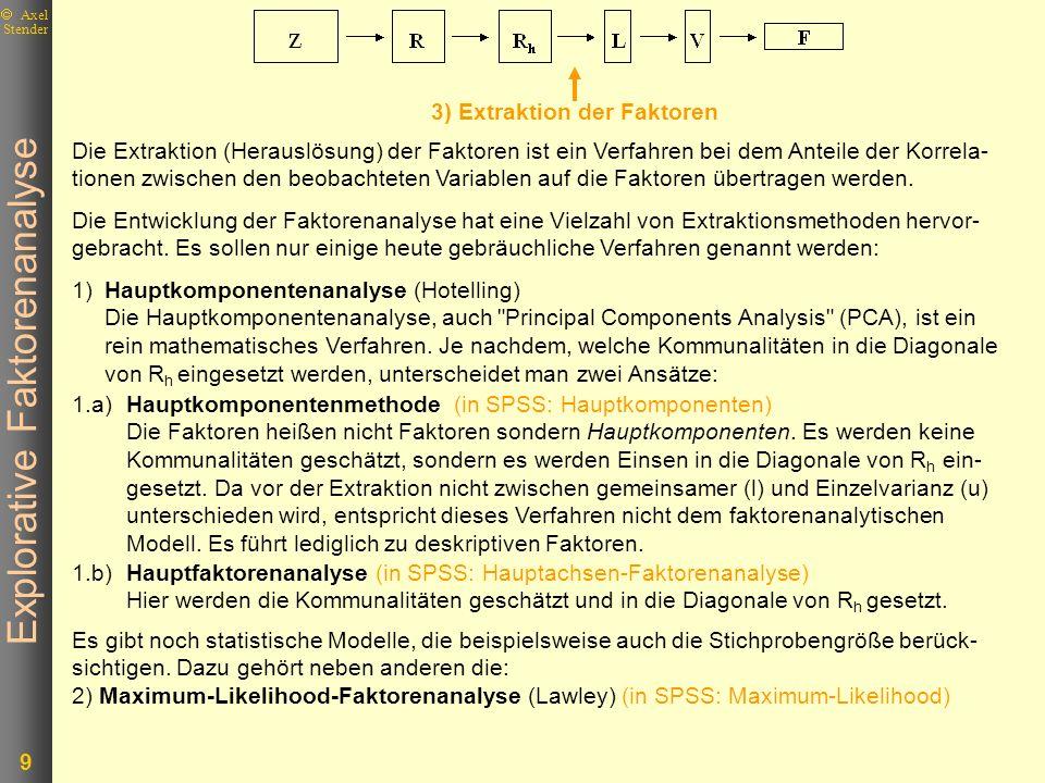 Explorative Faktorenanalyse 9 Axel Stender Es gibt noch statistische Modelle, die beispielsweise auch die Stichprobengröße berück- sichtigen. Dazu geh