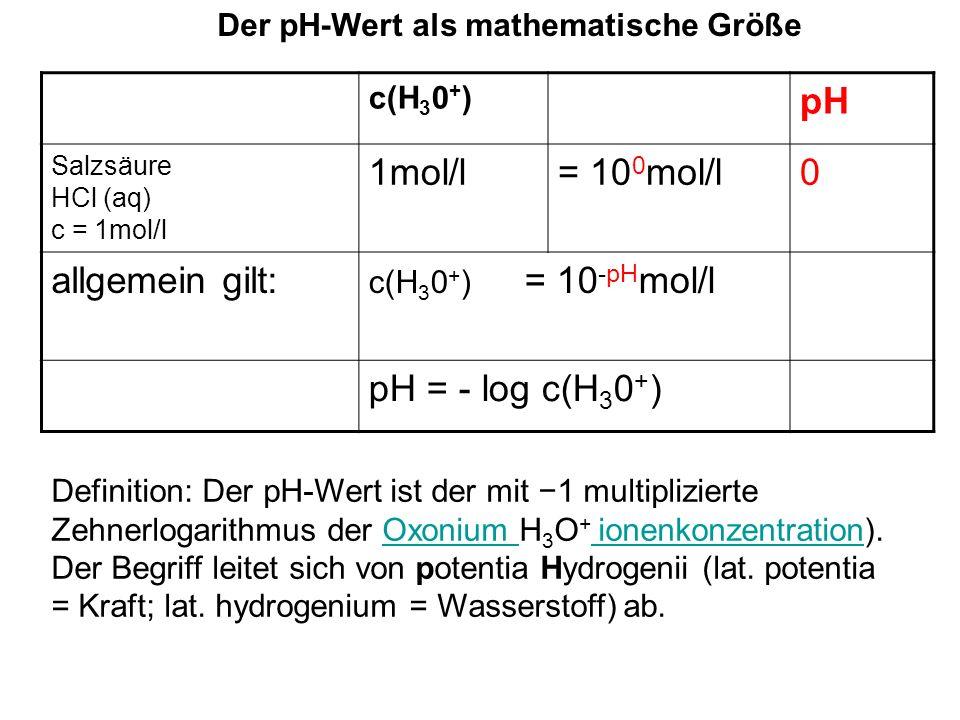 Der pH-Wert als mathematische Größe c(H 3 0 + ) pH Salzsäure HCl (aq) c = 1mol/l 1mol/l= 10 0 mol/l0 allgemein gilt: c(H 3 0 + ) = 10 -pH mol/l pH = -