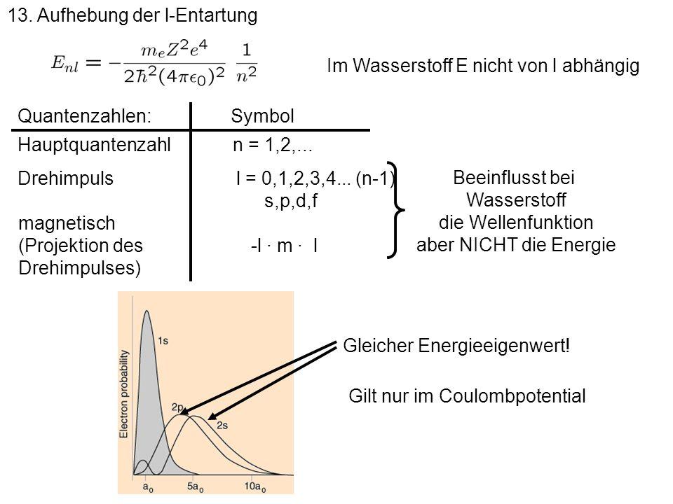 13. Aufhebung der l-Entartung Hauptquantenzahln = 1,2,... Drehimpulsl = 0,1,2,3,4... (n-1) magnetisch (Projektion des Drehimpulses) -l · m · l Quanten