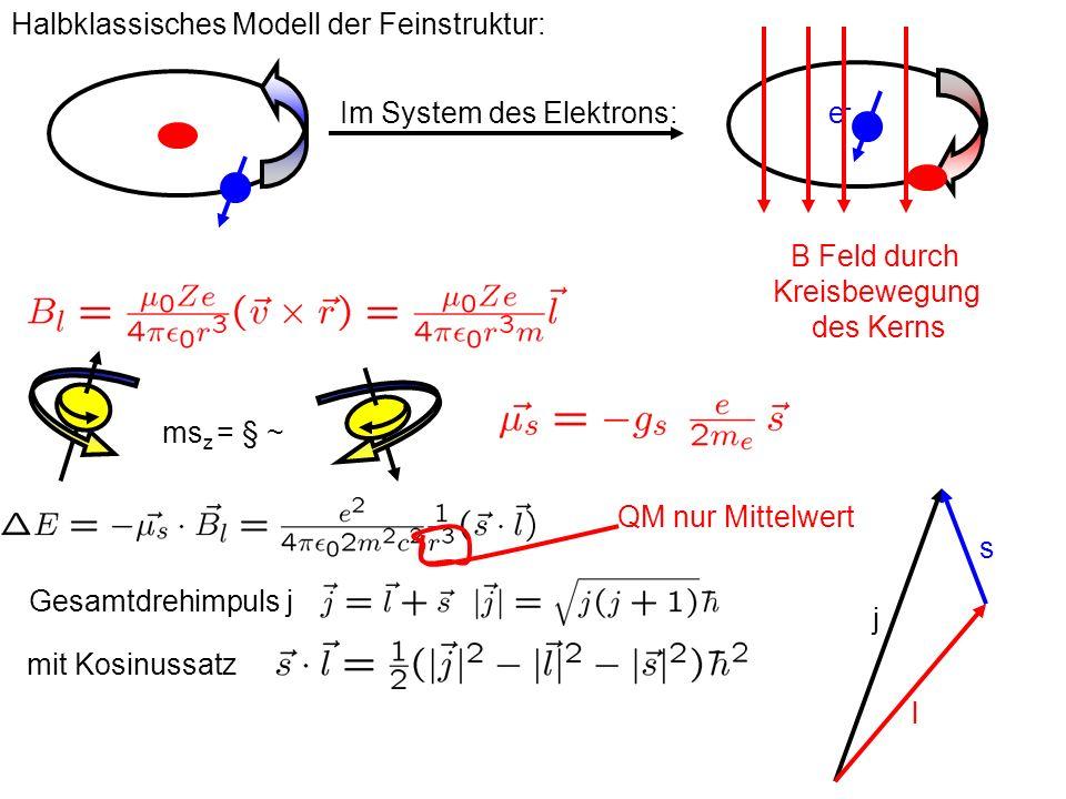 Im System des Elektrons: Halbklassisches Modell der Feinstruktur: e-e- B Feld durch Kreisbewegung des Kerns ms z = § ~ s l j Gesamtdrehimpuls j mit Ko