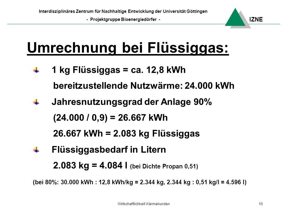 IZNE Interdisziplinäres Zentrum für Nachhaltige Entwicklung der Universität Göttingen - Projektgruppe Bioenergiedörfer - Wirtschaftlichkeit Wärmekunden10 Umrechnung bei Flüssiggas: 1 kg Flüssiggas = ca.