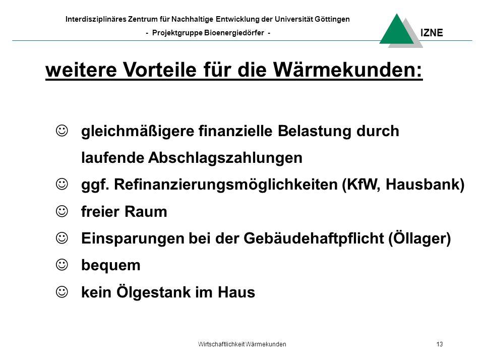IZNE Interdisziplinäres Zentrum für Nachhaltige Entwicklung der Universität Göttingen - Projektgruppe Bioenergiedörfer - Wirtschaftlichkeit Wärmekunden13 weitere Vorteile für die Wärmekunden: gleichmäßigere finanzielle Belastung durch laufende Abschlagszahlungen ggf.