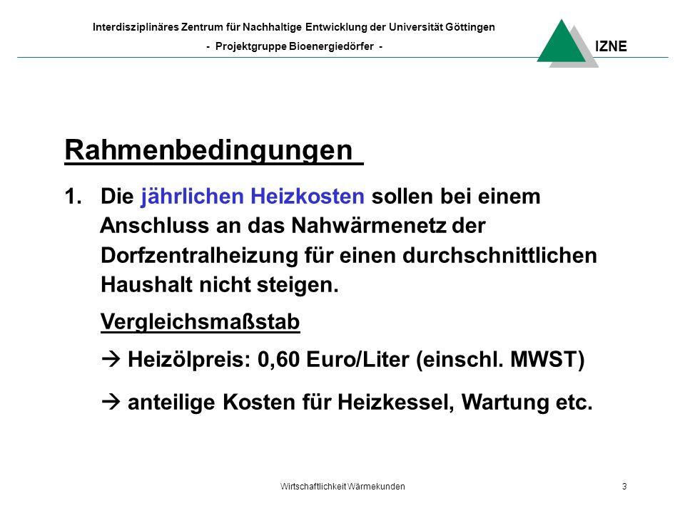 IZNE Interdisziplinäres Zentrum für Nachhaltige Entwicklung der Universität Göttingen - Projektgruppe Bioenergiedörfer - Wirtschaftlichkeit Wärmekunden3 Rahmenbedingungen 1.