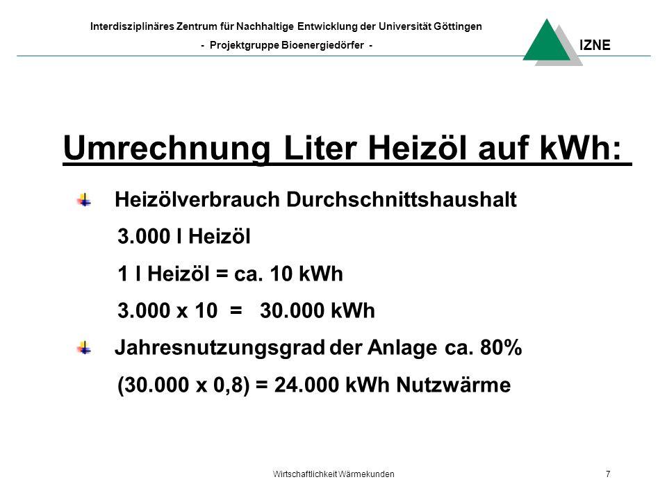 IZNE Interdisziplinäres Zentrum für Nachhaltige Entwicklung der Universität Göttingen - Projektgruppe Bioenergiedörfer - Wirtschaftlichkeit Wärmekunden7 Umrechnung Liter Heizöl auf kWh: Heizölverbrauch Durchschnittshaushalt 3.000 l Heizöl 1 l Heizöl = ca.