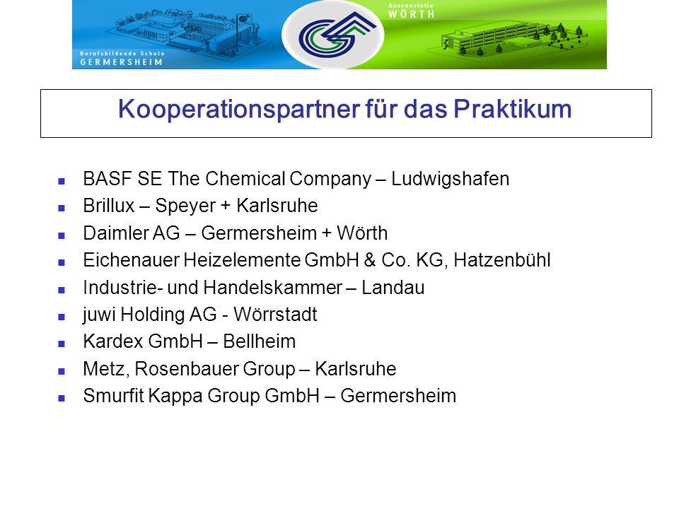 Kooperationspartner für das Praktikum BASF SE The Chemical Company – Ludwigshafen Brillux – Speyer + Karlsruhe Daimler AG – Germersheim + Wörth Eichen