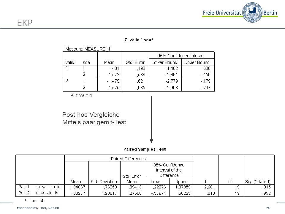 26 Fachbereich, Titel, Datum EKP Post-hoc-Vergleiche Mittels paarigem t-Test