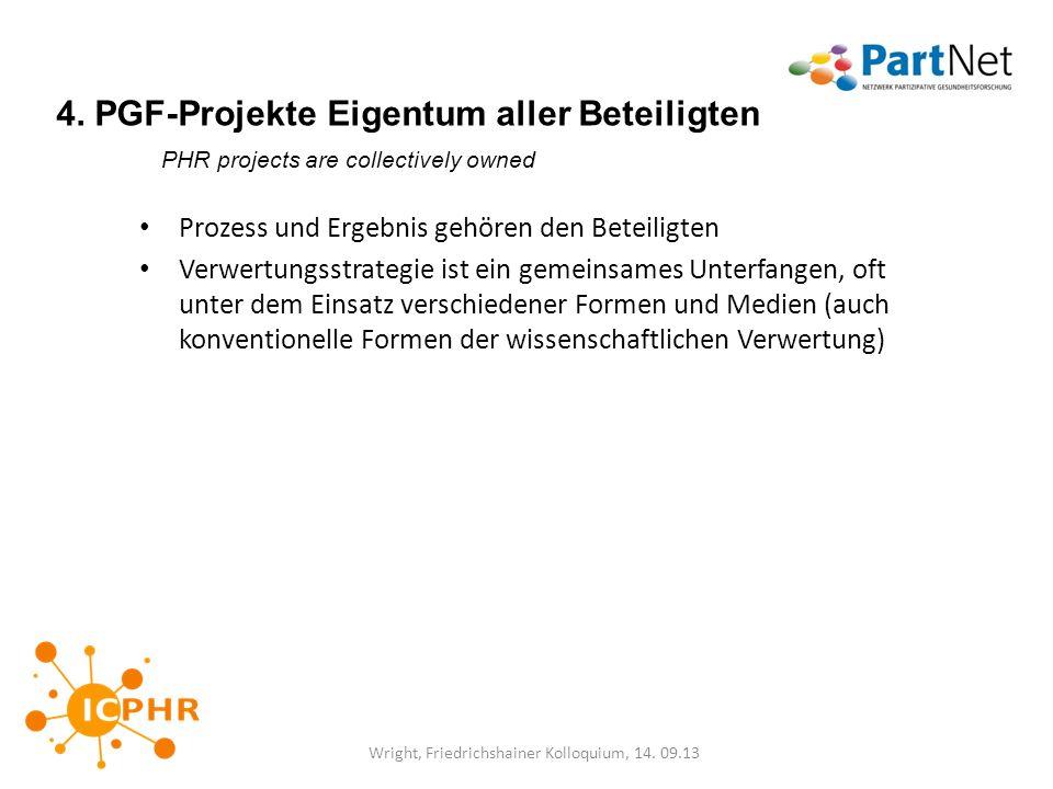 4. PGF-Projekte Eigentum aller Beteiligten PHR projects are collectively owned Prozess und Ergebnis gehören den Beteiligten Verwertungsstrategie ist e