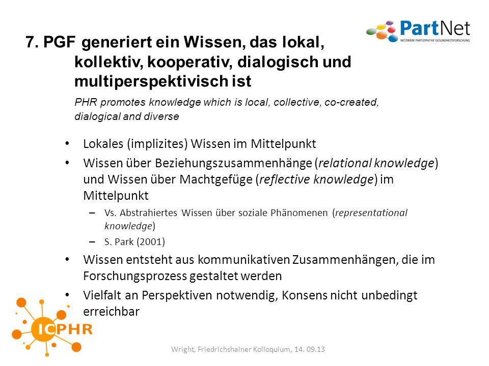 7. PGF generiert ein Wissen, das lokal, kollektiv, kooperativ, dialogisch und multiperspektivisch ist PHR promotes knowledge which is local, collectiv