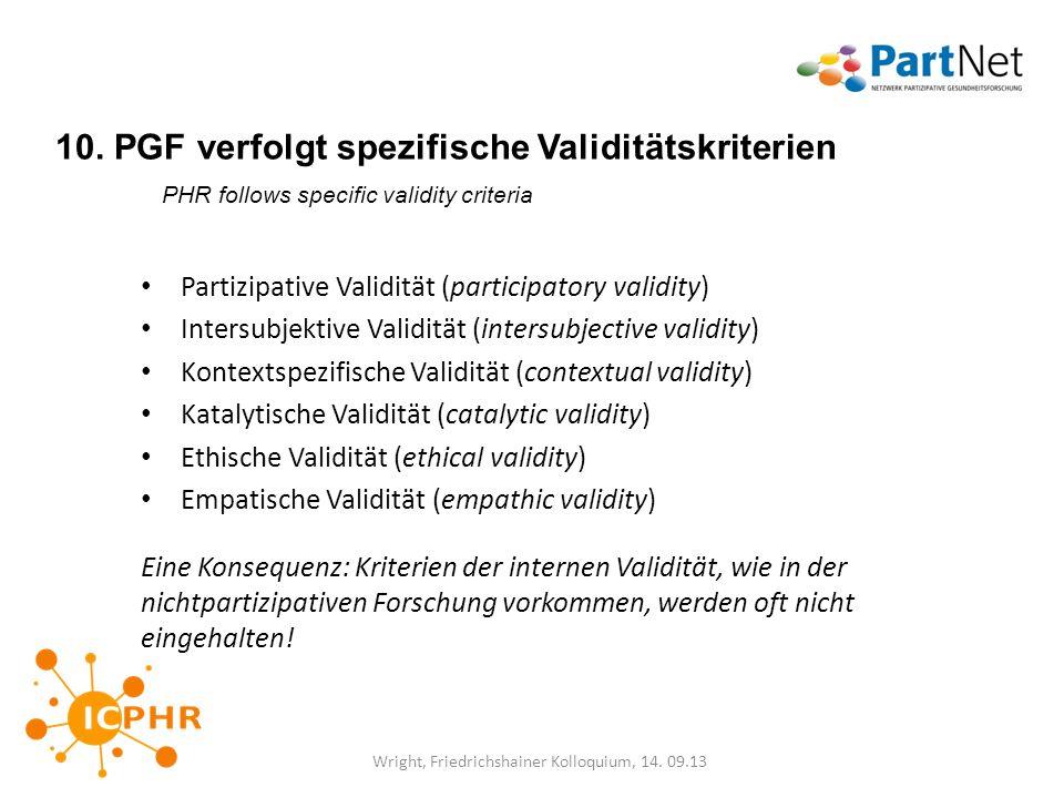 10. PGF verfolgt spezifische Validitätskriterien PHR follows specific validity criteria Partizipative Validität (participatory validity) Intersubjekti