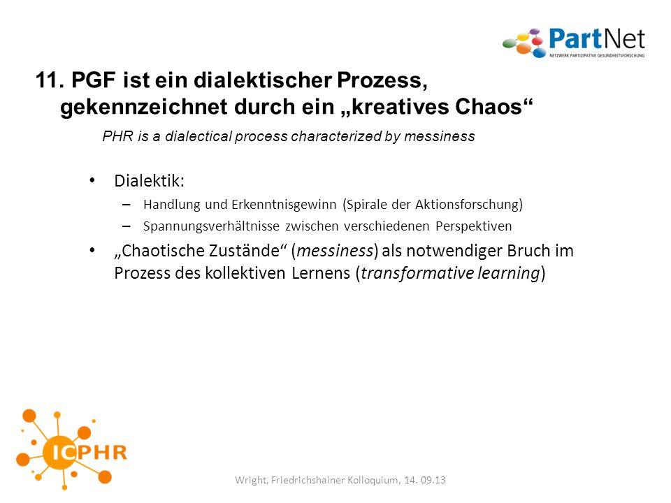 11. PGF ist ein dialektischer Prozess, gekennzeichnet durch ein kreatives Chaos PHR is a dialectical process characterized by messiness Dialektik: – H