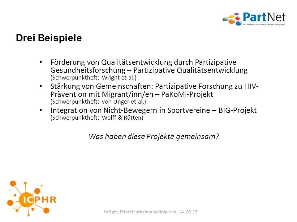 Drei Beispiele Förderung von Qualitätsentwicklung durch Partizipative Gesundheitsforschung – Partizipative Qualitätsentwicklung (Schwerpunktheft: Wrig