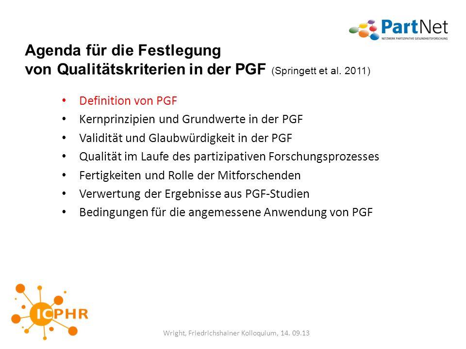 Agenda für die Festlegung von Qualitätskriterien in der PGF (Springett et al. 2011) Definition von PGF Kernprinzipien und Grundwerte in der PGF Validi