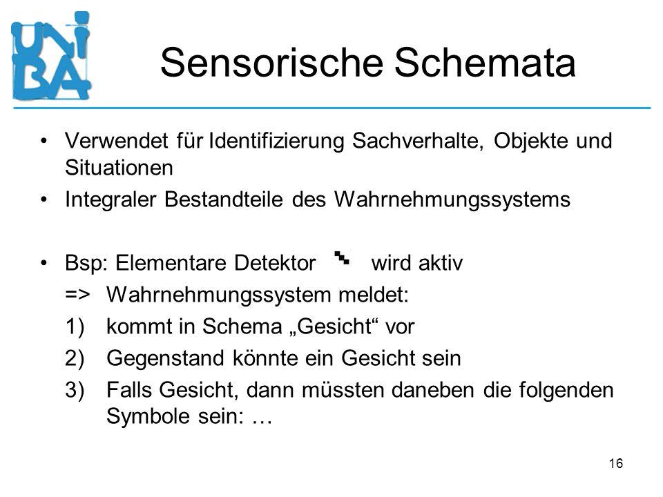 16 Sensorische Schemata Verwendet für Identifizierung Sachverhalte, Objekte und Situationen Integraler Bestandteile des Wahrnehmungssystems Bsp: Eleme
