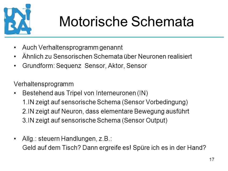 17 Motorische Schemata Auch Verhaltensprogramm genannt Ähnlich zu Sensorischen Schemata über Neuronen realisiert Grundform: Sequenz Sensor, Aktor, Sen