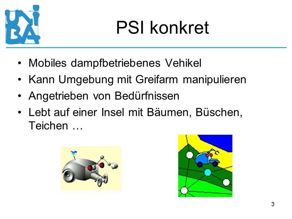 3 PSI konkret Mobiles dampfbetriebenes Vehikel Kann Umgebung mit Greifarm manipulieren Angetrieben von Bedürfnissen Lebt auf einer Insel mit Bäumen, B