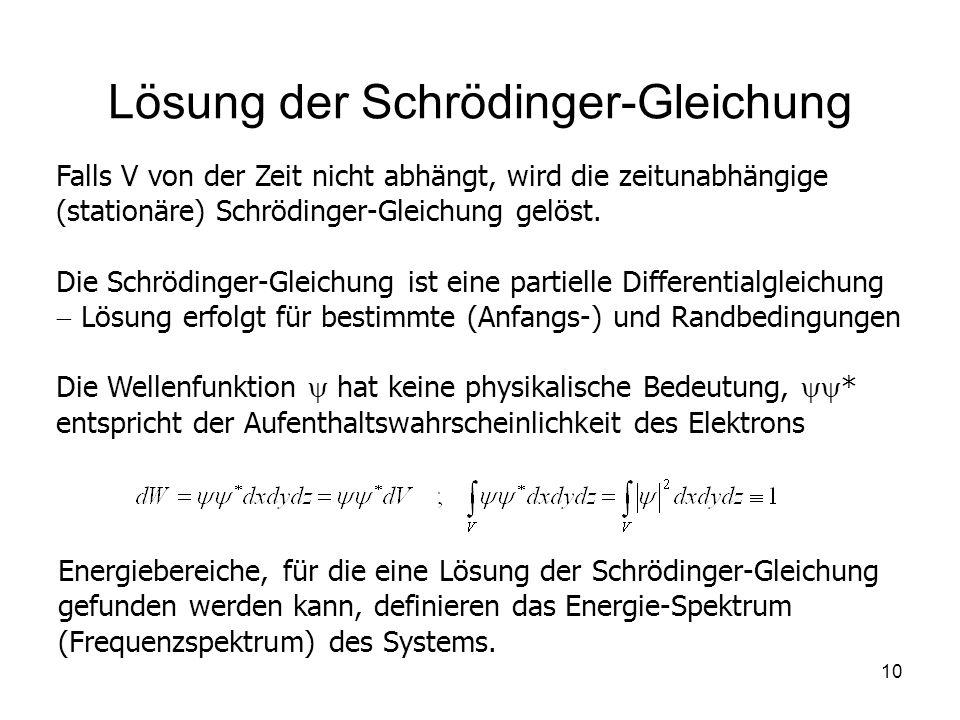 10 Lösung der Schrödinger-Gleichung Falls V von der Zeit nicht abhängt, wird die zeitunabhängige (stationäre) Schrödinger-Gleichung gelöst. Die Schröd