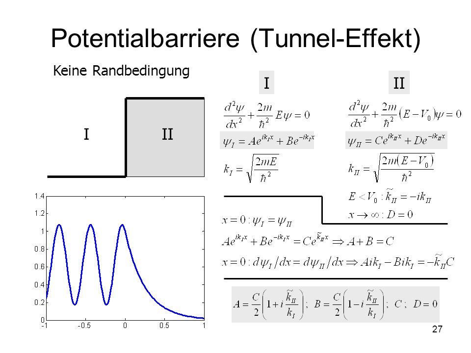 27 Potentialbarriere (Tunnel-Effekt) III I Keine Randbedingung
