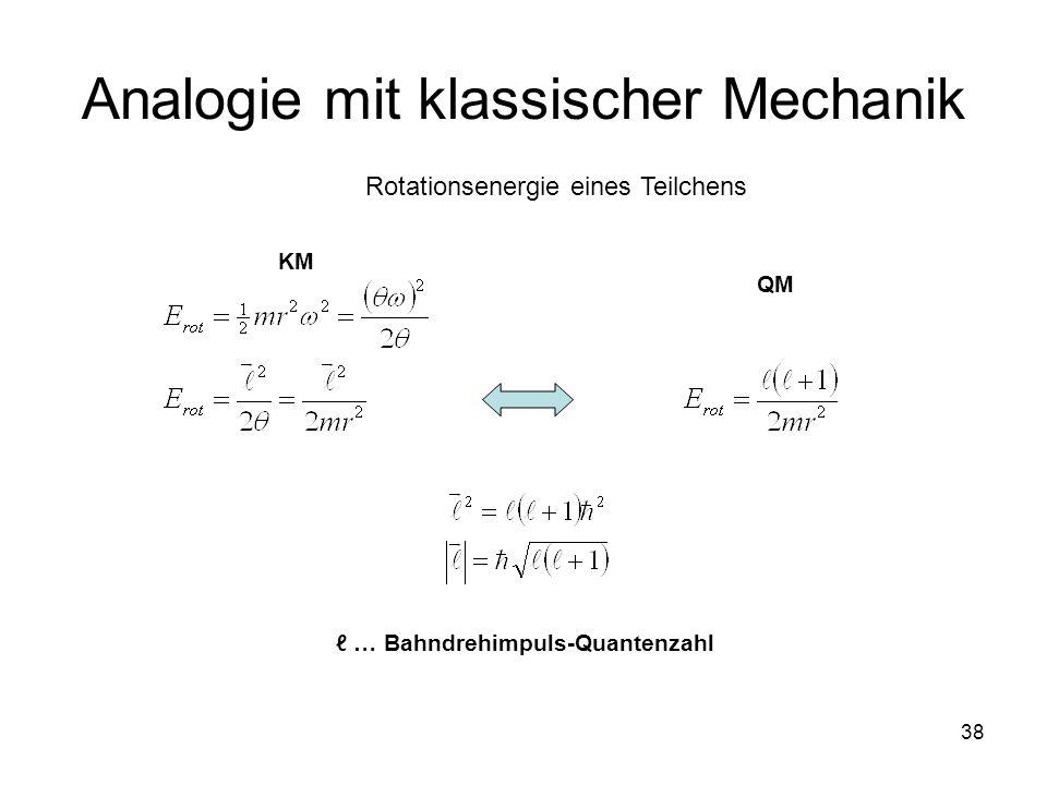 38 Analogie mit klassischer Mechanik Rotationsenergie eines Teilchens KM QM … Bahndrehimpuls-Quantenzahl