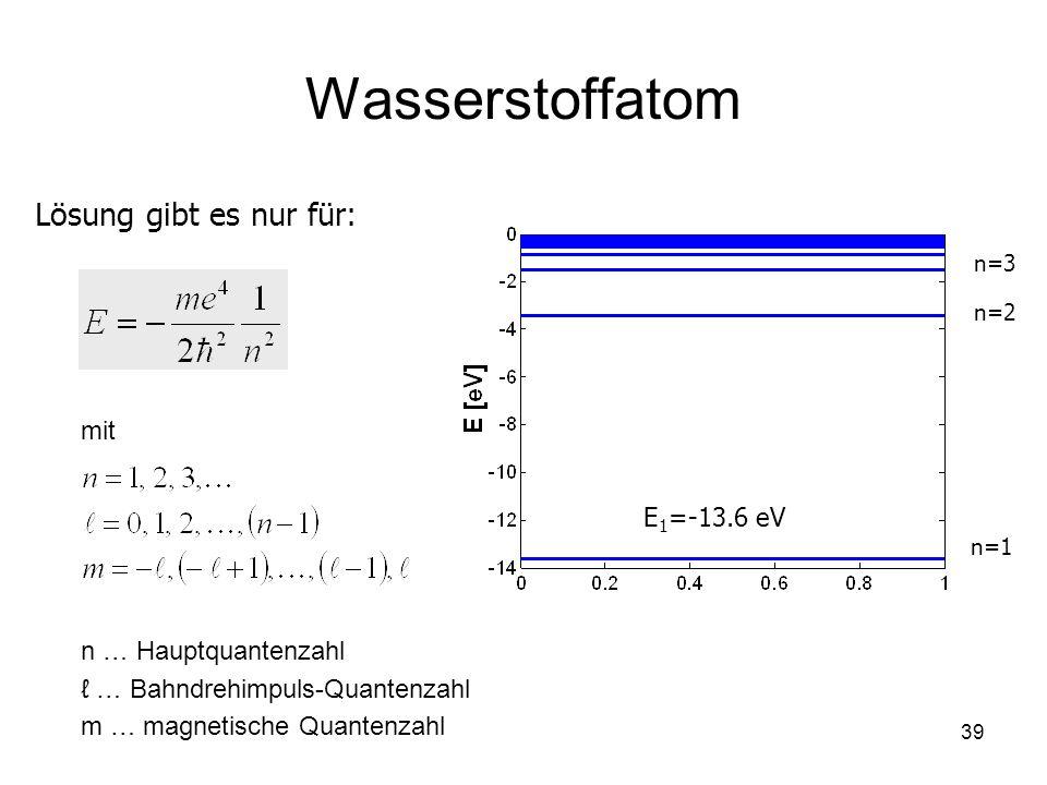 39 Wasserstoffatom Lösung gibt es nur für: n=1 n=2 n=3 E 1 =-13.6 eV mit n … Hauptquantenzahl … Bahndrehimpuls-Quantenzahl m … magnetische Quantenzahl