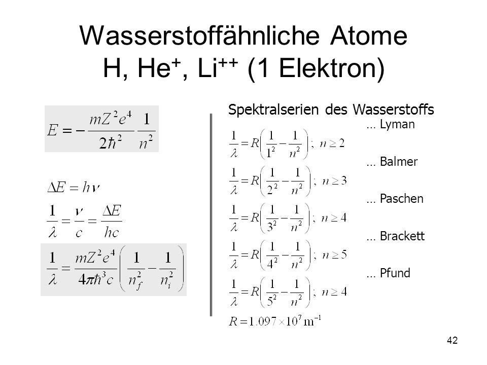 42 Wasserstoffähnliche Atome H, He +, Li ++ (1 Elektron) Spektralserien des Wasserstoffs … Lyman … Balmer … Paschen … Brackett … Pfund
