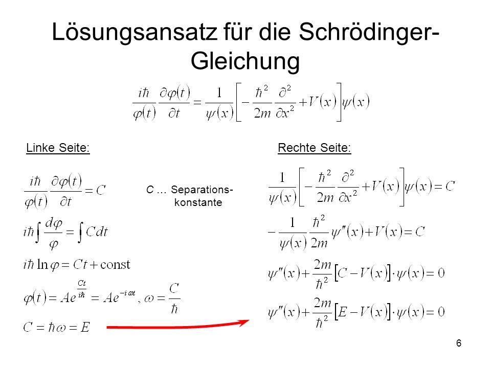6 Lösungsansatz für die Schrödinger- Gleichung Linke Seite:Rechte Seite: C … Separations- konstante