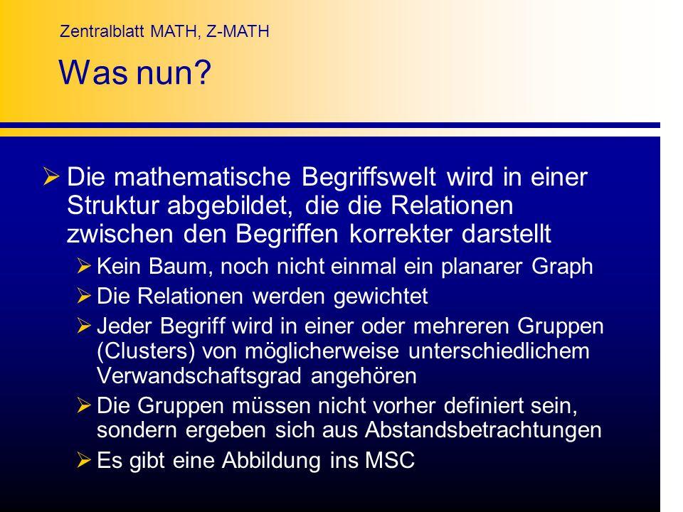 Zentralblatt MATH, Z-MATH Was nun? Die mathematische Begriffswelt wird in einer Struktur abgebildet, die die Relationen zwischen den Begriffen korrekt