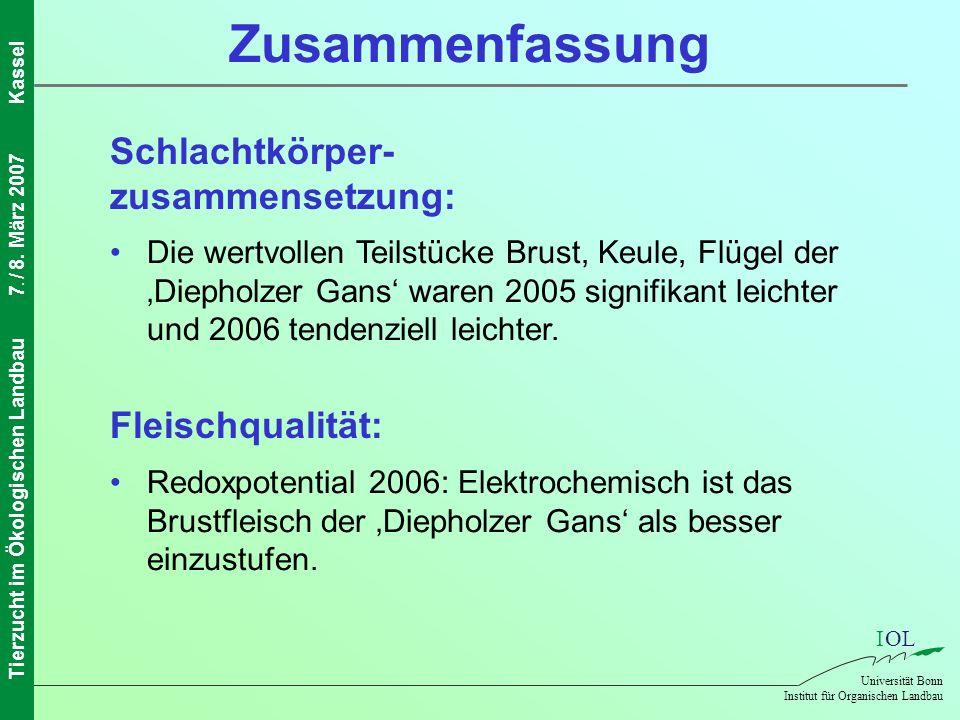 IOL Universität Bonn Institut für Organischen Landbau Tierzucht im Ökologischen Landbau7. / 8. März 2007Kassel Schlachtkörper- zusammensetzung: Die we