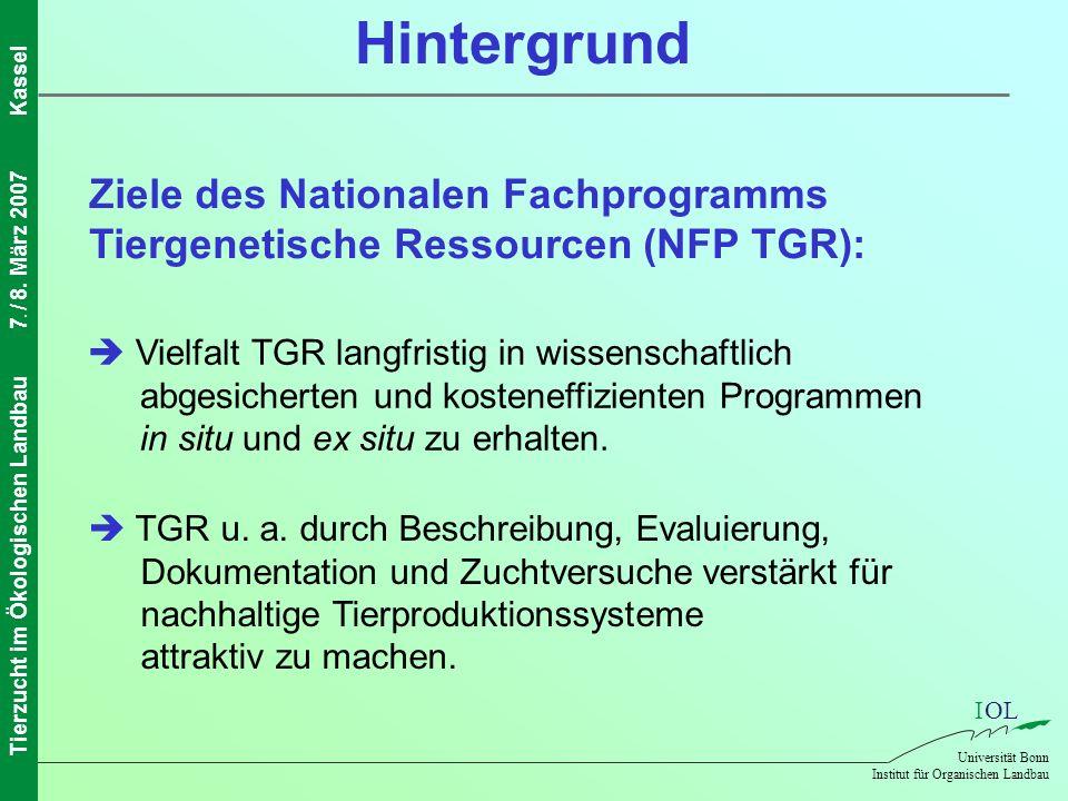 IOL Universität Bonn Institut für Organischen Landbau Tierzucht im Ökologischen Landbau7. / 8. März 2007Kassel Hintergrund Ziele des Nationalen Fachpr
