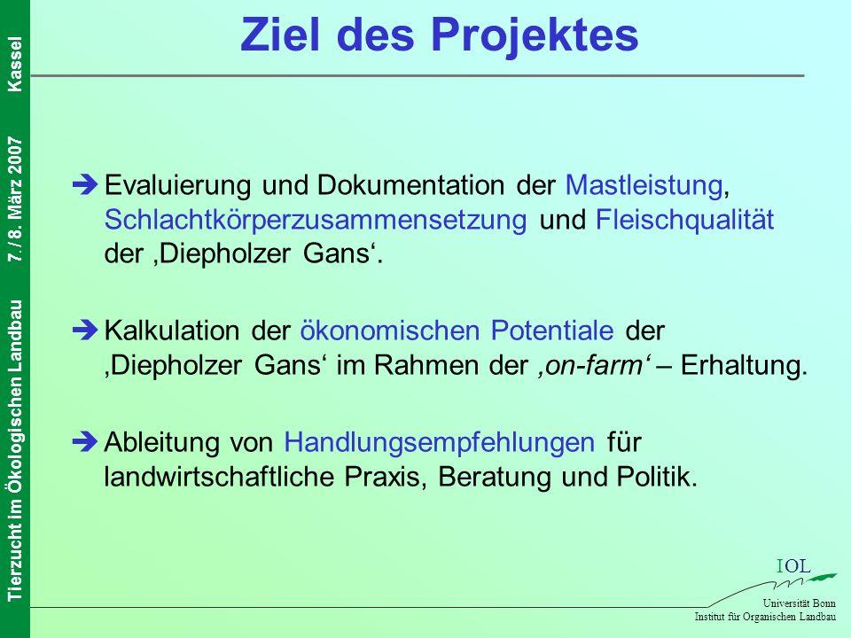 IOL Universität Bonn Institut für Organischen Landbau Tierzucht im Ökologischen Landbau7. / 8. März 2007Kassel Ziel des Projektes Kalkulation der ökon