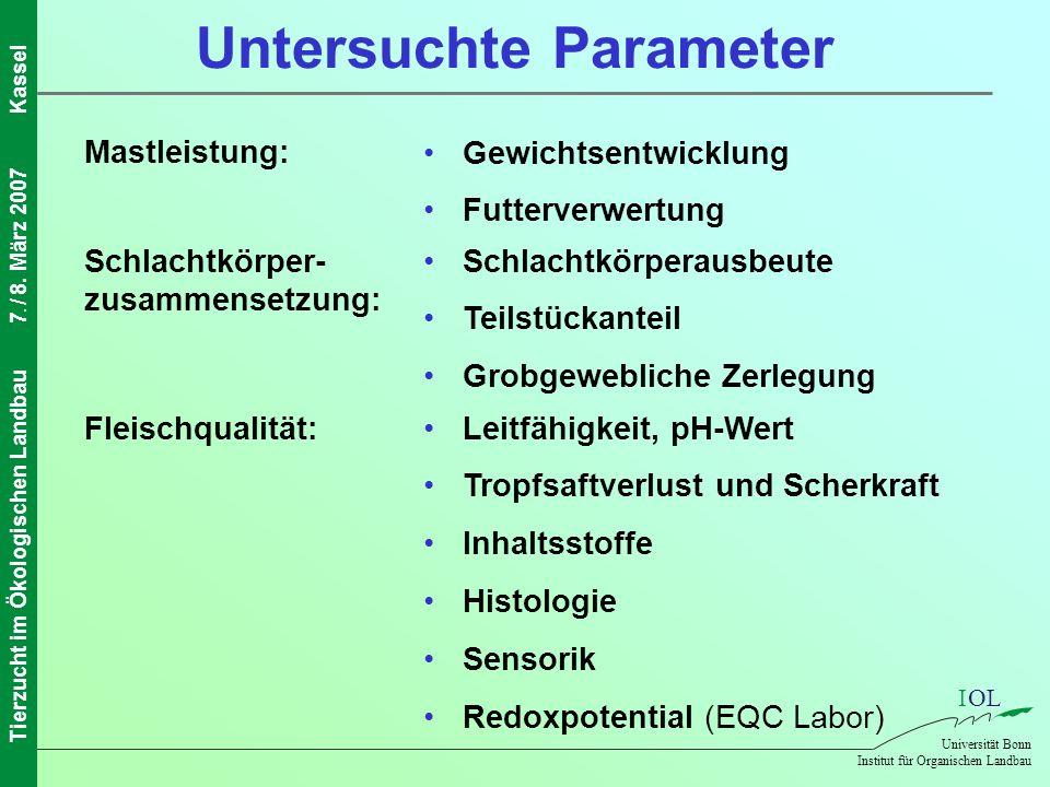 IOL Universität Bonn Institut für Organischen Landbau Tierzucht im Ökologischen Landbau7. / 8. März 2007Kassel Schlachtkörper- zusammensetzung: Fleisc