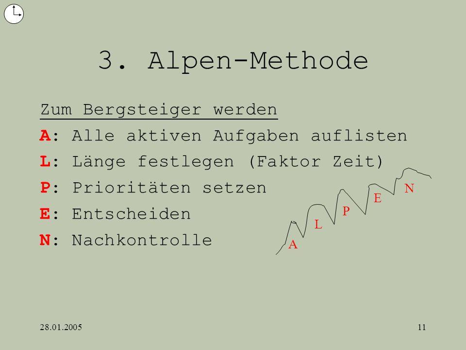28.01.200511 3. Alpen-Methode Zum Bergsteiger werden A: Alle aktiven Aufgaben auflisten L: Länge festlegen (Faktor Zeit) P: Prioritäten setzen E: Ents