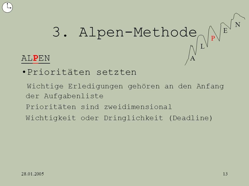 28.01.200513 3. Alpen-Methode ALPEN Prioritäten setzten Wichtige Erledigungen gehören an den Anfang der Aufgabenliste Prioritäten sind zweidimensional