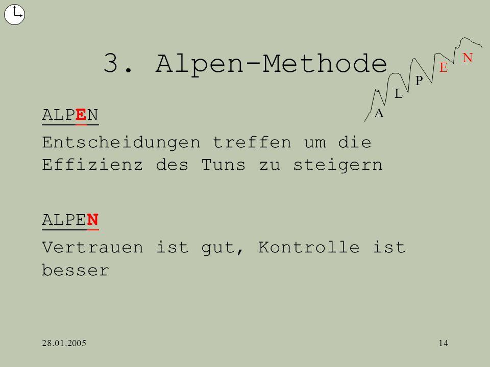 28.01.200514 3. Alpen-Methode ALPEN Entscheidungen treffen um die Effizienz des Tuns zu steigern ALPEN Vertrauen ist gut, Kontrolle ist besser A L P E