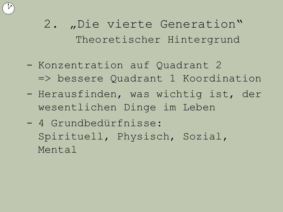 2. Die vierte Generation Theoretischer Hintergrund -Konzentration auf Quadrant 2 => bessere Quadrant 1 Koordination -Herausfinden, was wichtig ist, de