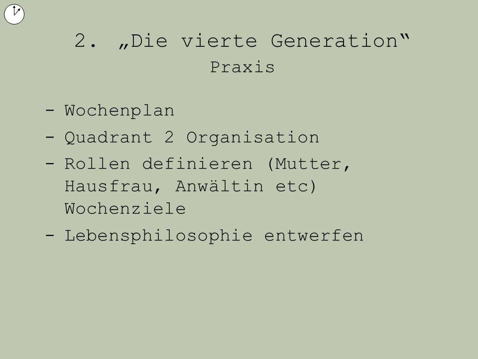 2. Die vierte Generation Praxis -Wochenplan -Quadrant 2 Organisation -Rollen definieren (Mutter, Hausfrau, Anwältin etc) Wochenziele -Lebensphilosophi