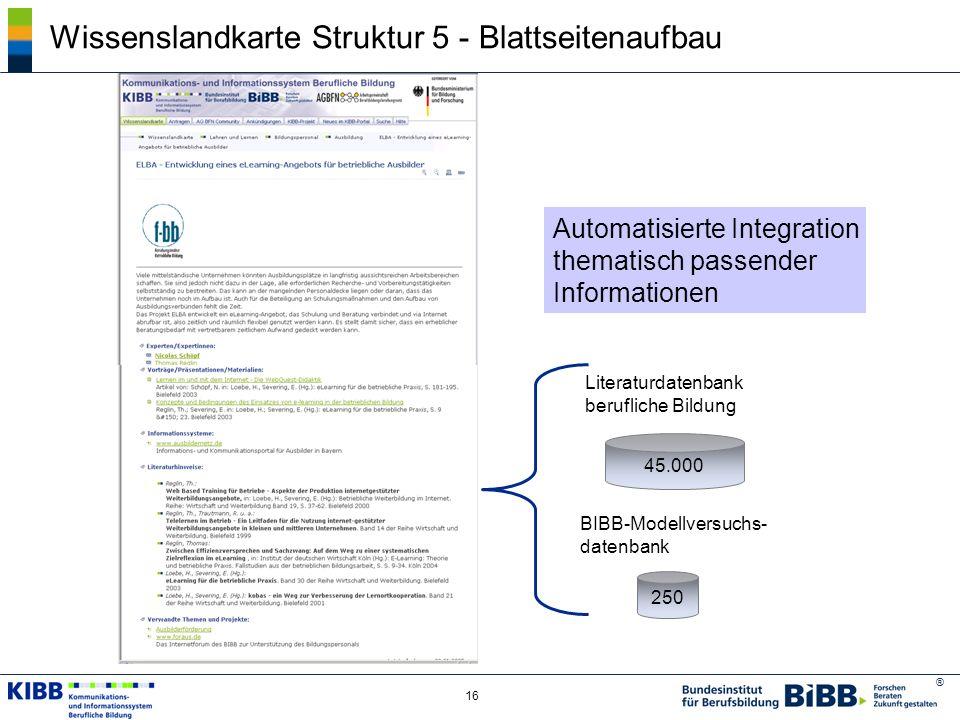 ® 16 Wissenslandkarte Struktur 5 - Blattseitenaufbau Literaturdatenbank berufliche Bildung BIBB-Modellversuchs- datenbank 45.000 250 Automatisierte In