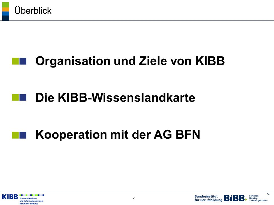 ® 2 Überblick Organisation und Ziele von KIBB Die KIBB-Wissenslandkarte Kooperation mit der AG BFN