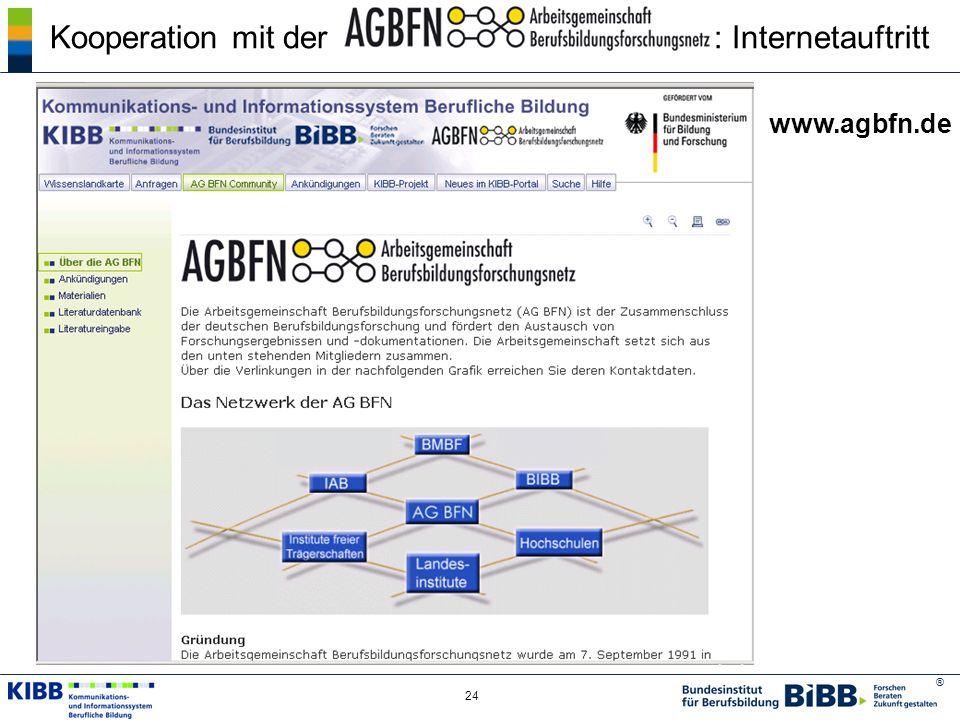 ® 24 Kooperation mit der : Internetauftritt www.agbfn.de