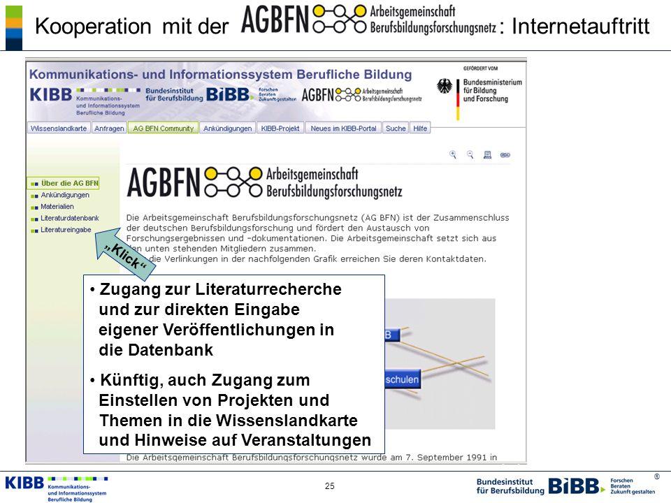 ® 25 Kooperation mit der : Internetauftritt Zugang zur Literaturrecherche und zur direkten Eingabe eigener Veröffentlichungen in die Datenbank Künftig