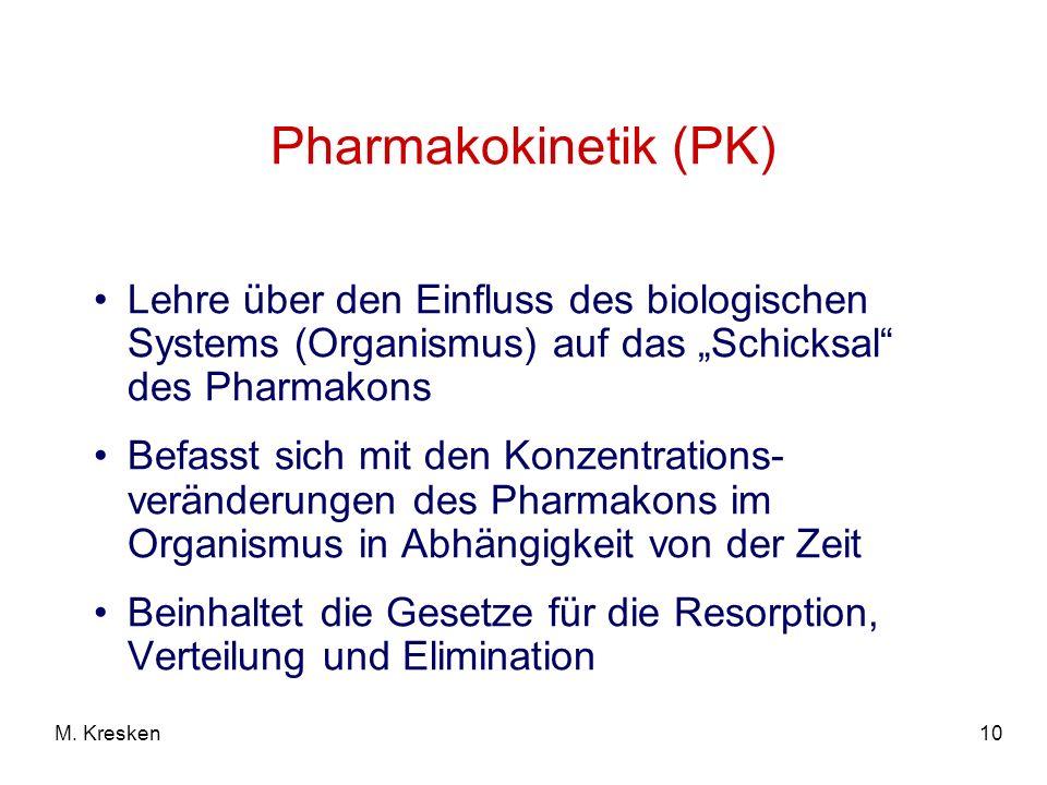 10M. Kresken Pharmakokinetik (PK) Lehre über den Einfluss des biologischen Systems (Organismus) auf das Schicksal des Pharmakons Befasst sich mit den