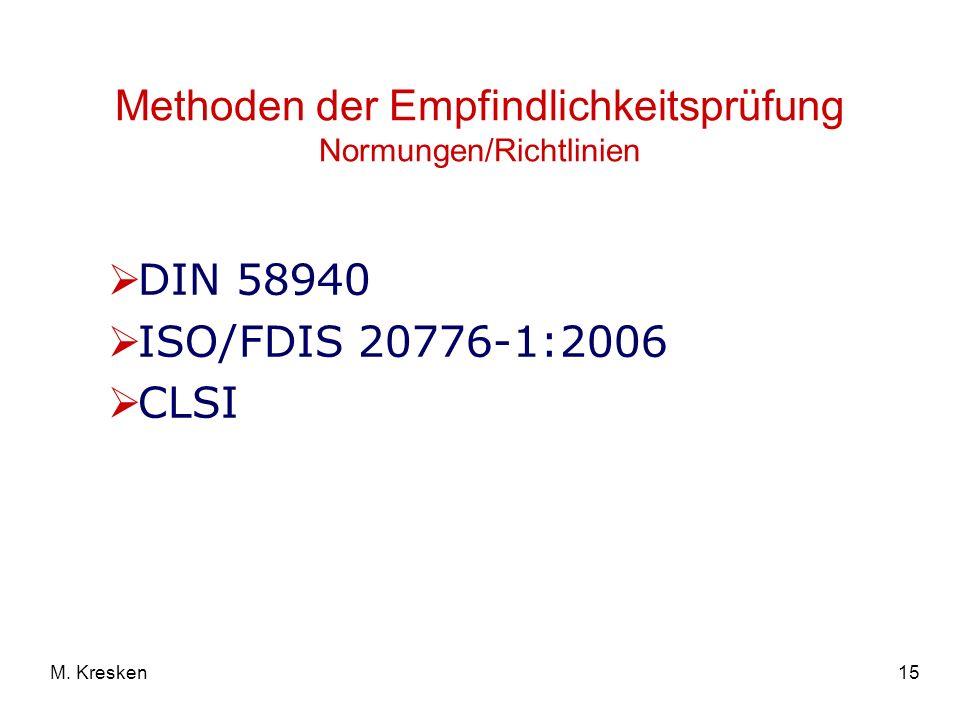 15M. Kresken DIN 58940 ISO/FDIS 20776-1:2006 CLSI Methoden der Empfindlichkeitsprüfung Normungen/Richtlinien